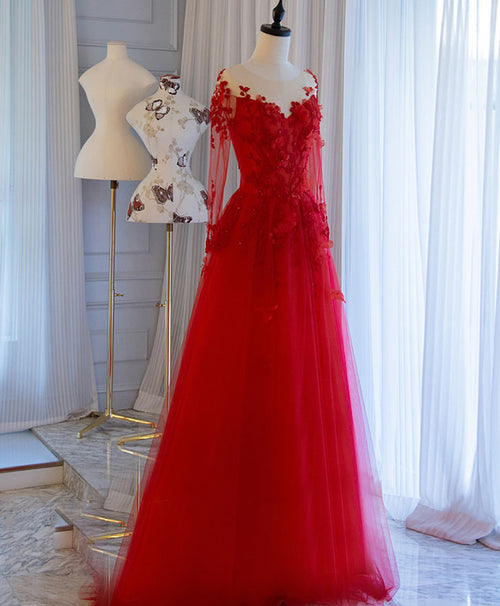 Red tulle lace off shoulder long prom dress red lace evening dress