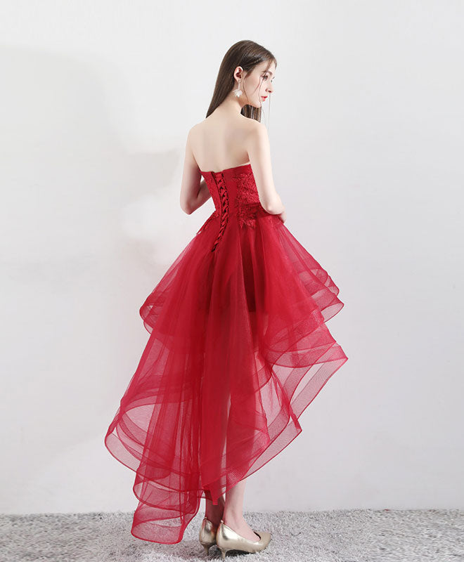 Burgundy tulle lace high low prom dress, burgundy tulle evening dress