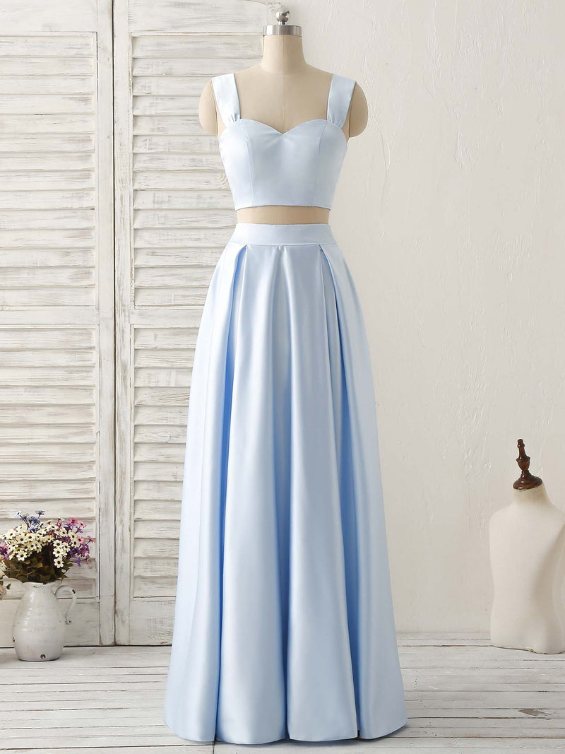 Light blue two pieces satin long prom dress simple evening dress