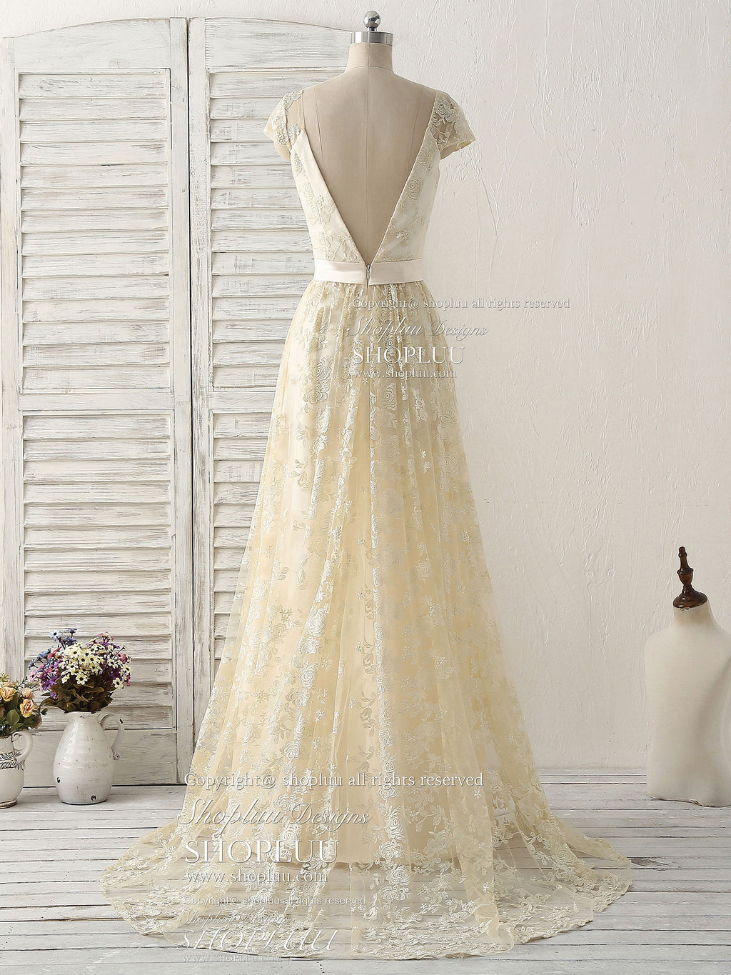 Champagne round neck lace long prom dress lace wedding dress