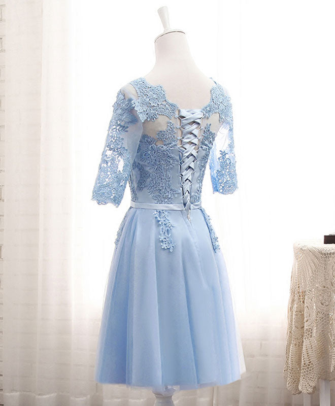 Blue tulle lace long prom dress blue tulle bridesmaid dress