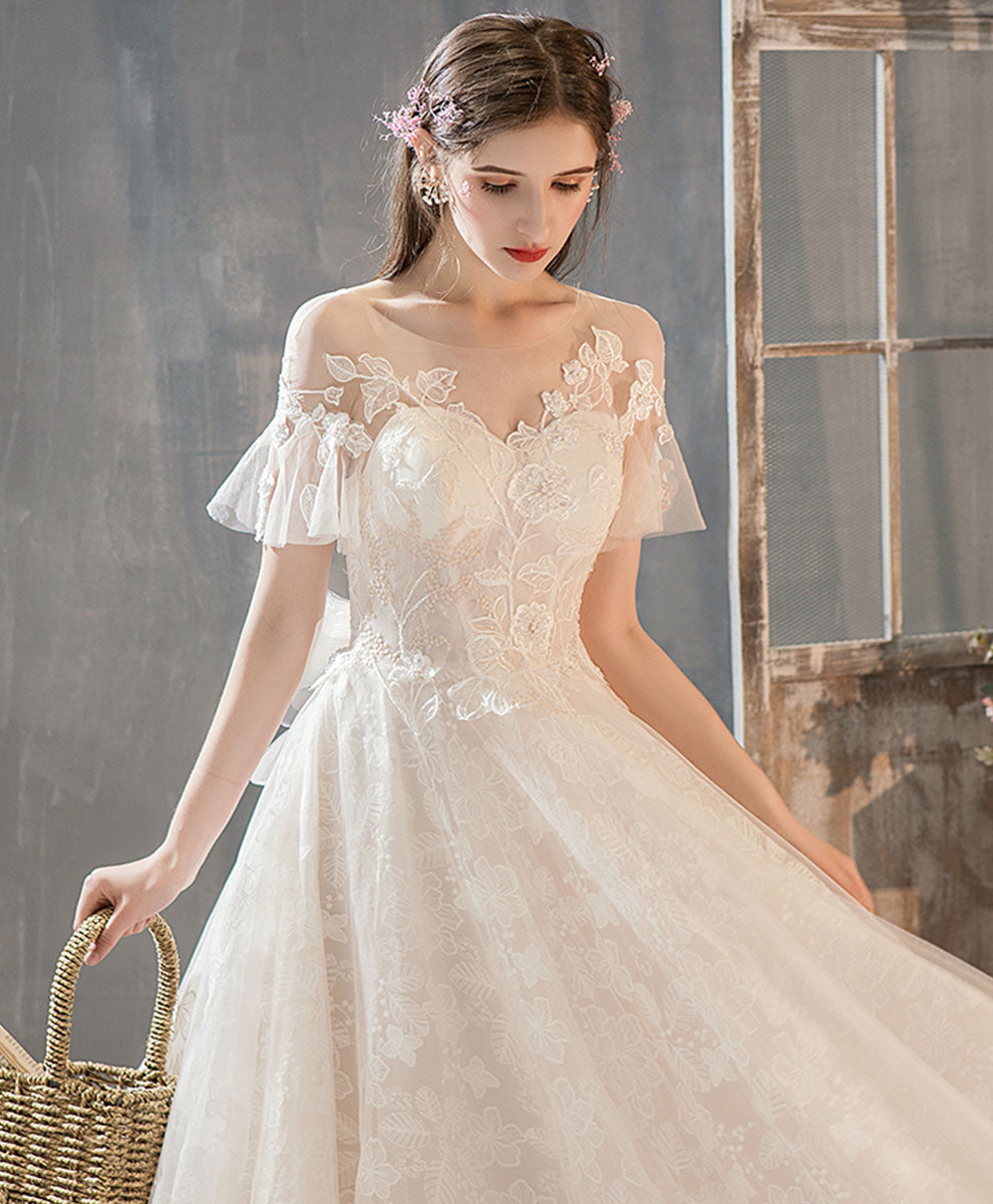 Light champagne tulle lace long wedding dress, lace bridal dress