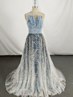 Unique tulle lace long prom dress, blue evening dress