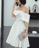 Cute white satin short prom dress white short evening dress