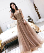 Champagne tulle off shoulder long prom dress, tulle evening dress