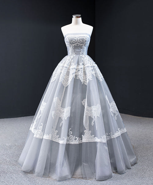 Gray sweetheart tulle lace long prom dress gray tulle formal dress