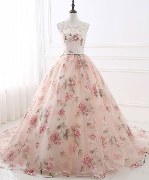 Pink round neck tulle lace long prom dress pink long evening gown