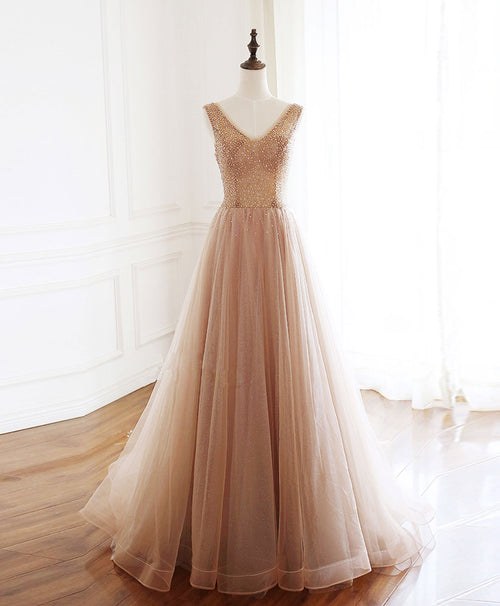 Champagne v neck tulle beads long prom dress evening dress