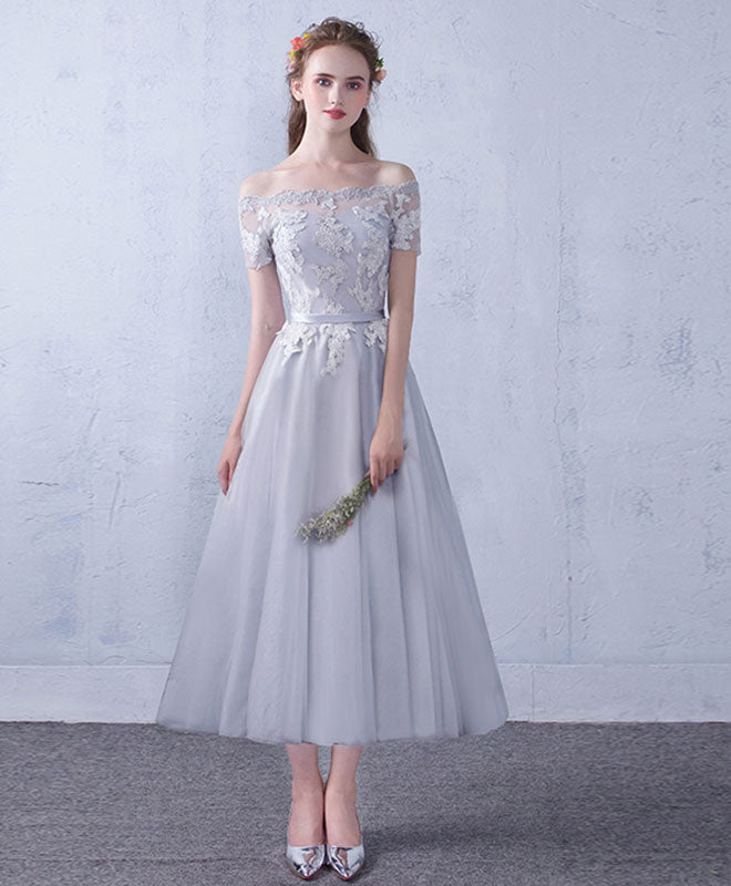 f554ac1471dc Gray tulle lace tea Length prom dress, gray bridesmaid dress