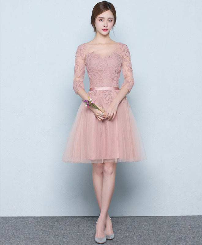 Pink tulle lace short prom dress, pink tulle bridesmaid dress