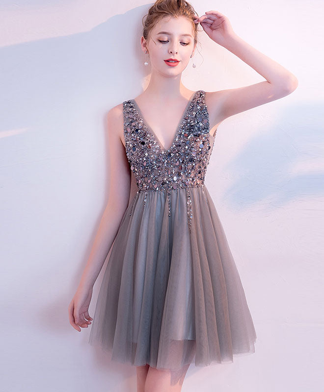 Gray v neck tulle beads short prom dress, gray homecoming dress
