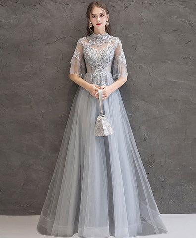 Gray tulle lace long prom dress, gray tulle formal dress