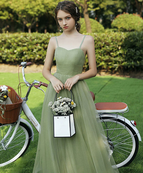 Simple sweetheart tulle green long prom dress green evening dress