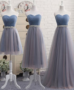 Simple gray blue tulle prom dress, bridesmaid dress