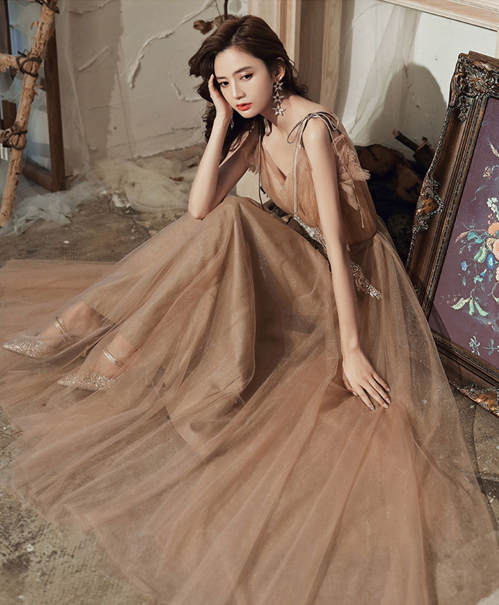 Champagne v neck tulle lace long prom dress lace tulle evening dress