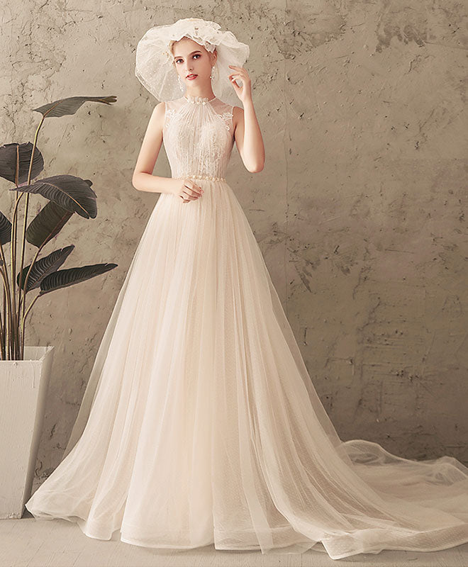 Unique Tulle Lace Long Prom Dress Tulle Lace Wedding Dress