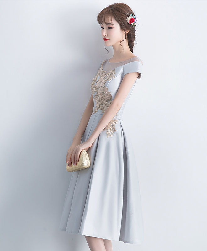 Gray satin lace short prom dress, gray bridesmaid dress