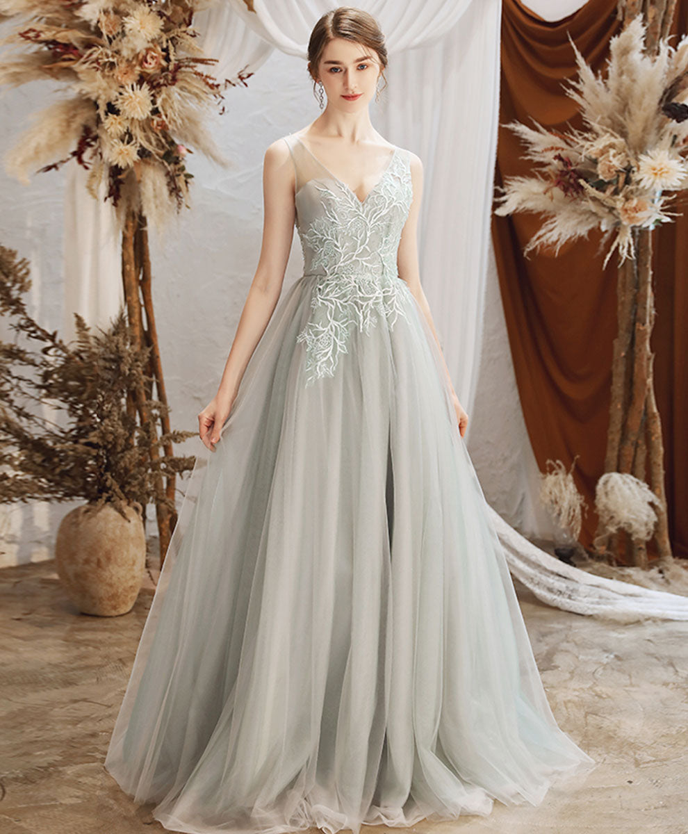 Gray green tulle lace long prom dress gray tulle formal dress