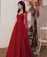 Burgundy tulle long prom dress burgundy formal dress