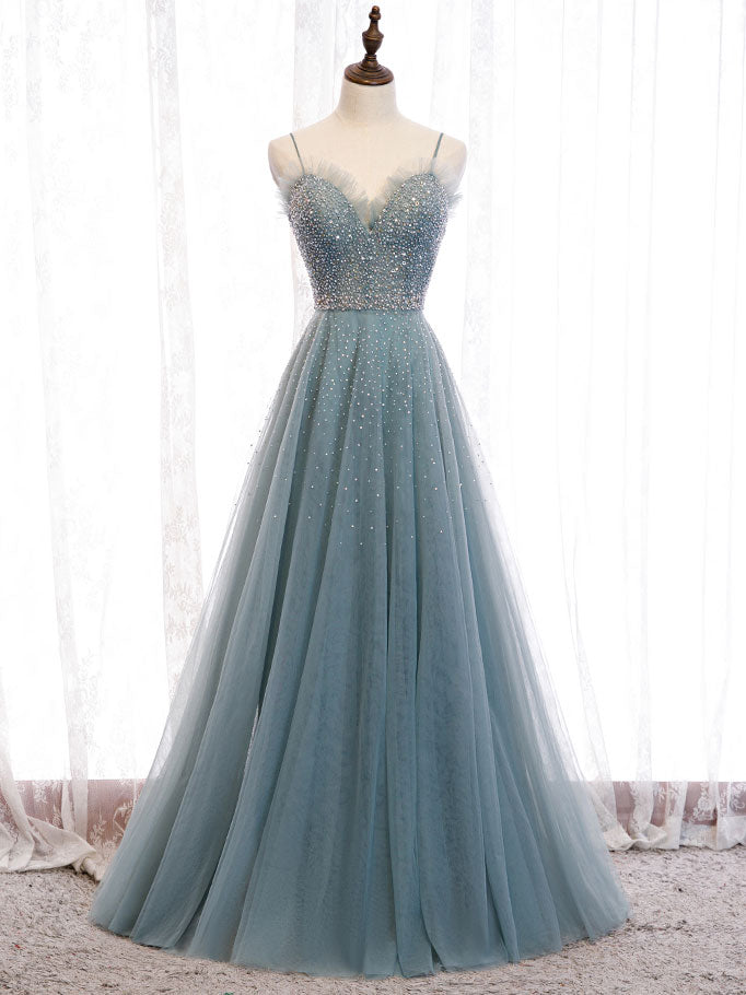 Green sweetheart neck tulle sequin long prom dress green evening dress