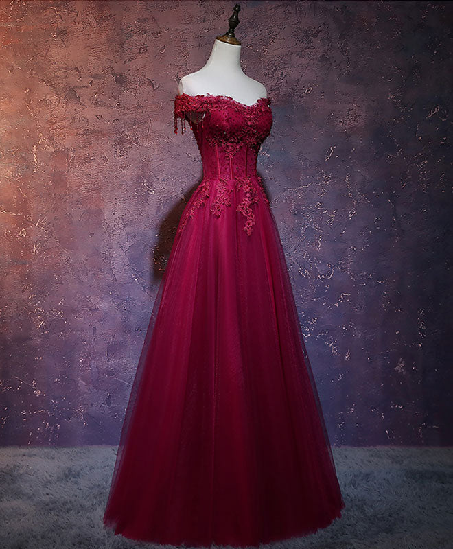 Burgundy tulle lace off shoulder long prom dress burgundy lace evening dress