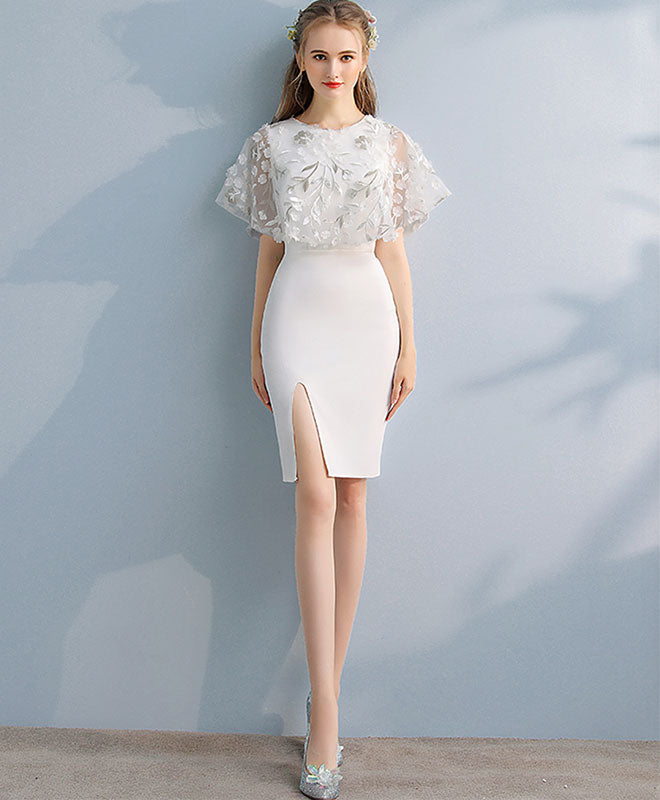 Simple white lace mermaid short prom dress, white evening dress
