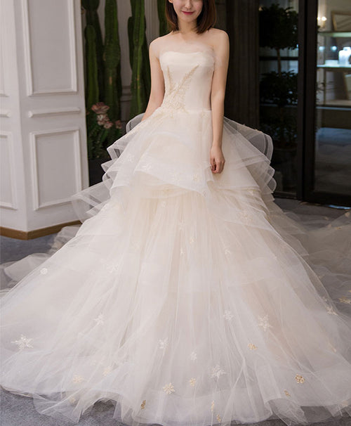 Light champagne tulle long wedding dress, champagne bridal dress