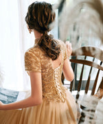 Champagne tulle beads long prom dress champagne tulle formal dress