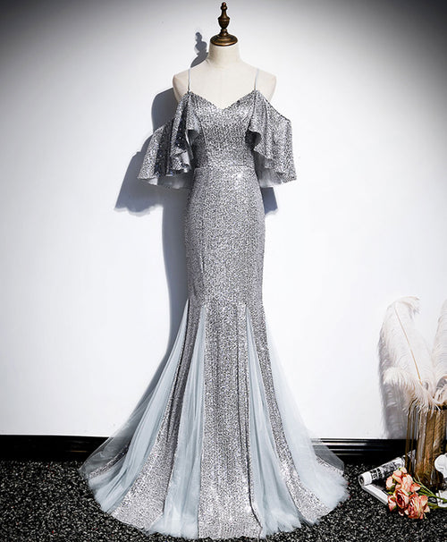 Gray v neck sequin mermaid long prom dress gray formal dress
