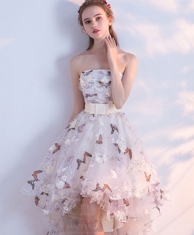 Unique tulle lace short prom dress, tulle homecoming dress