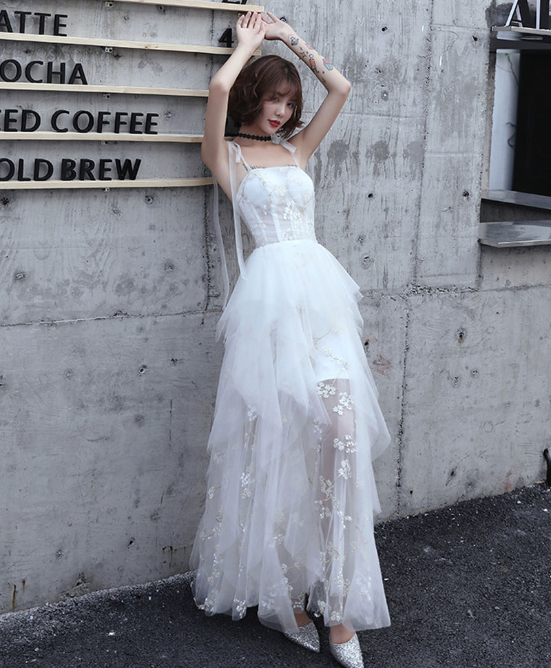 White sweetheart tulle prom dress white formal dress
