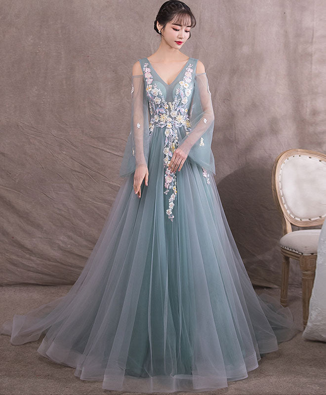Green v neck tulle lace long prom dress, green evening dress