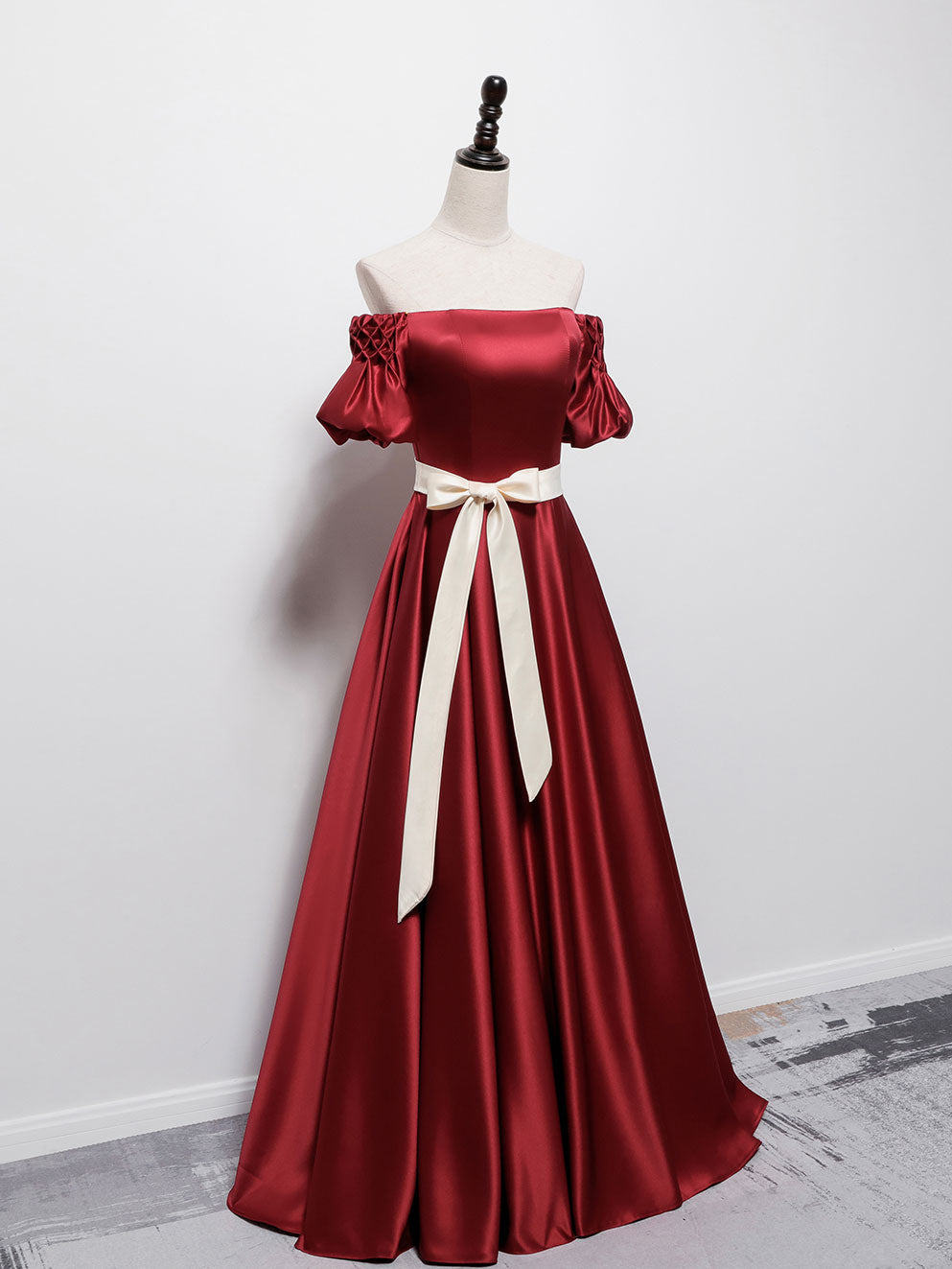 Simple burgundy satin long prom dress burgundy bridesmaid dress
