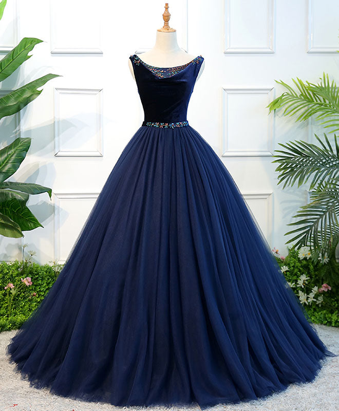 Dark blue tulle long prom dress, dark blue tulle evening dress