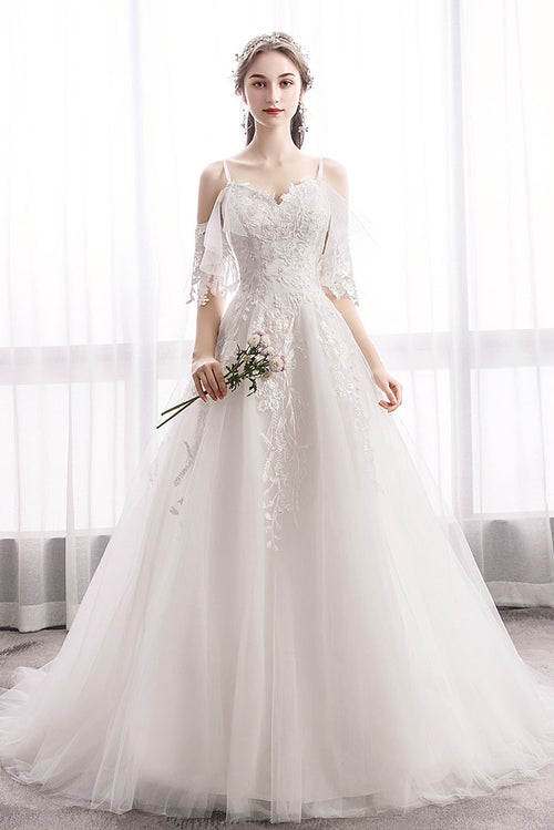 White sweetheart lace tulle long wedding dress, lace bridal dress