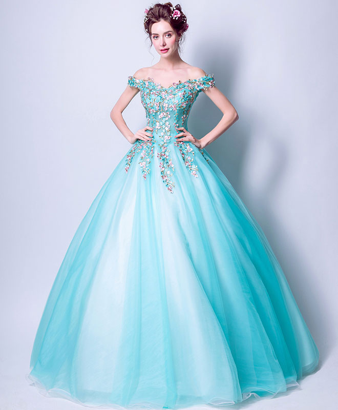 Green tulle lace off shoulder long prom dress, green evening dress