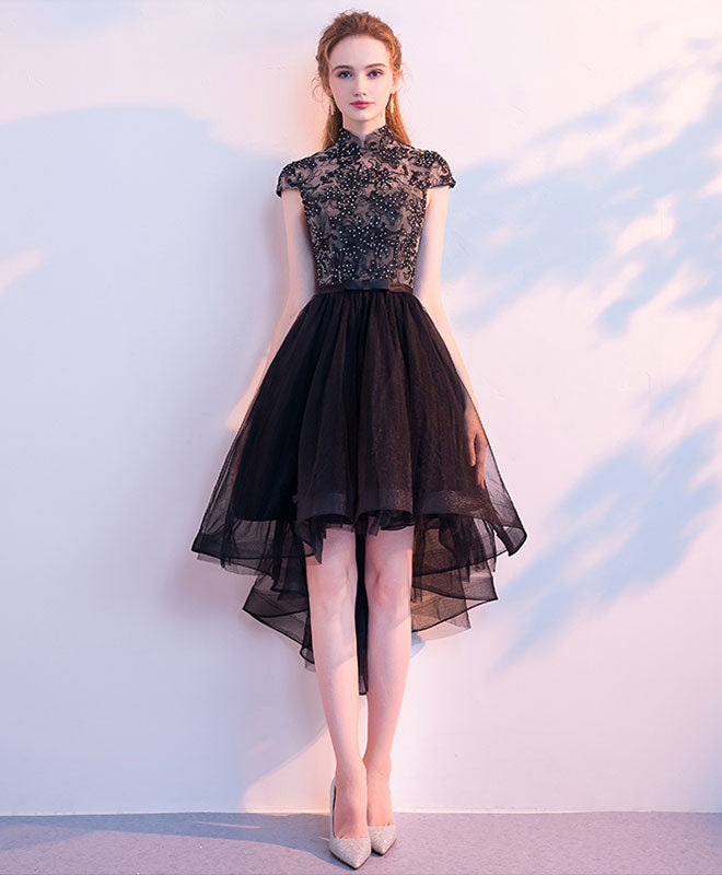 Cute black tulle short prom dress, black homecoming dress