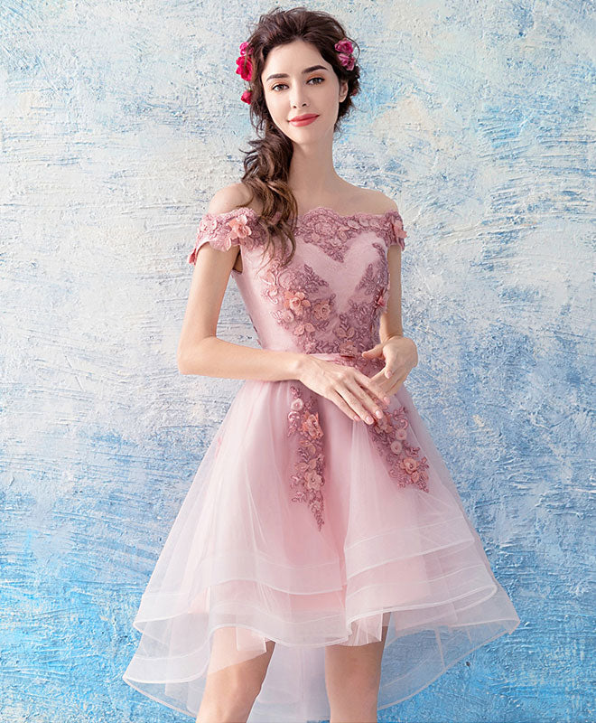Pink tulle lace short prom dress, pink tulle homecoming dress