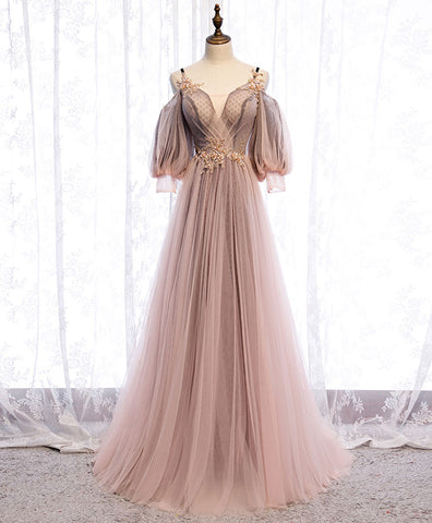 Light champagne v neck tulle lace prom dress formal dress