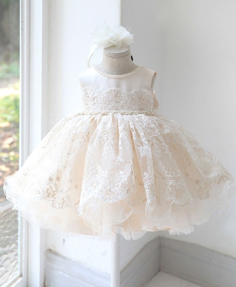 Champagne tulle lace baby dress champagne flower girl dress