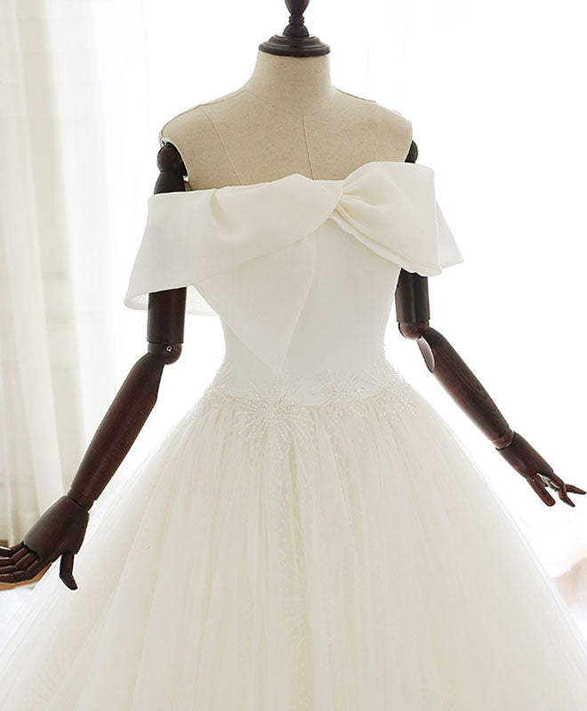 White tulle long prom dress white tulle wedding dress