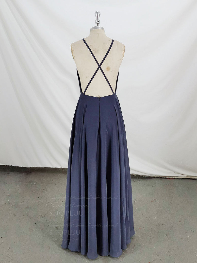 Simple chiffon backless long prom dress evening dress