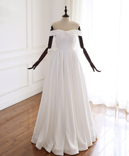 Simple white off shoulder long prom dress white evening dress