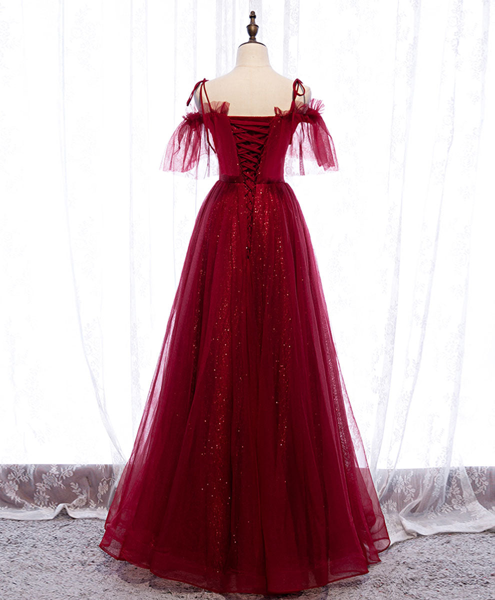 Burgundy sweetheart tulle lace long prom dress burgundy formal dress
