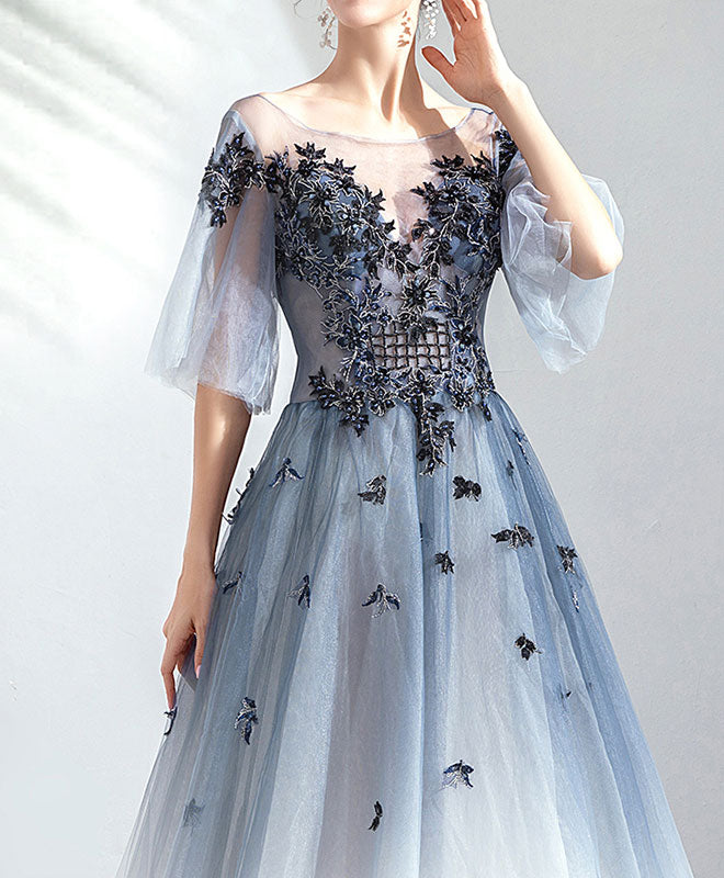 Blue round neck tulle lace long prom dress, evening dress