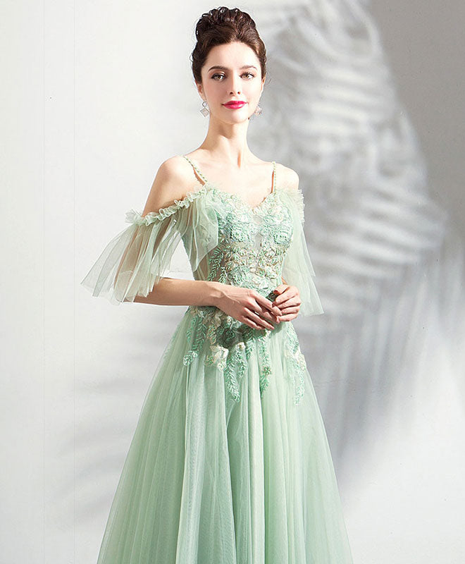 Green tulle off shoulder long prom dress, green tulle evening dress