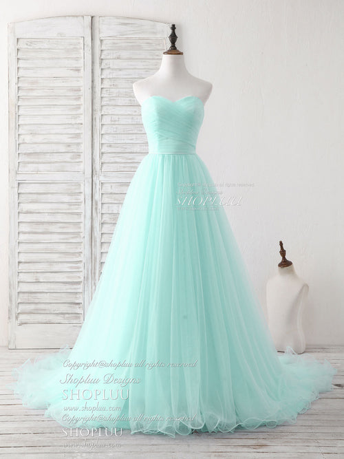 Simple sweetheart light green tulle long prom dress, green evening dress