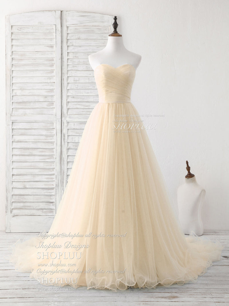 Simple sweetheart champagne tulle long prom dress champagne evening dress