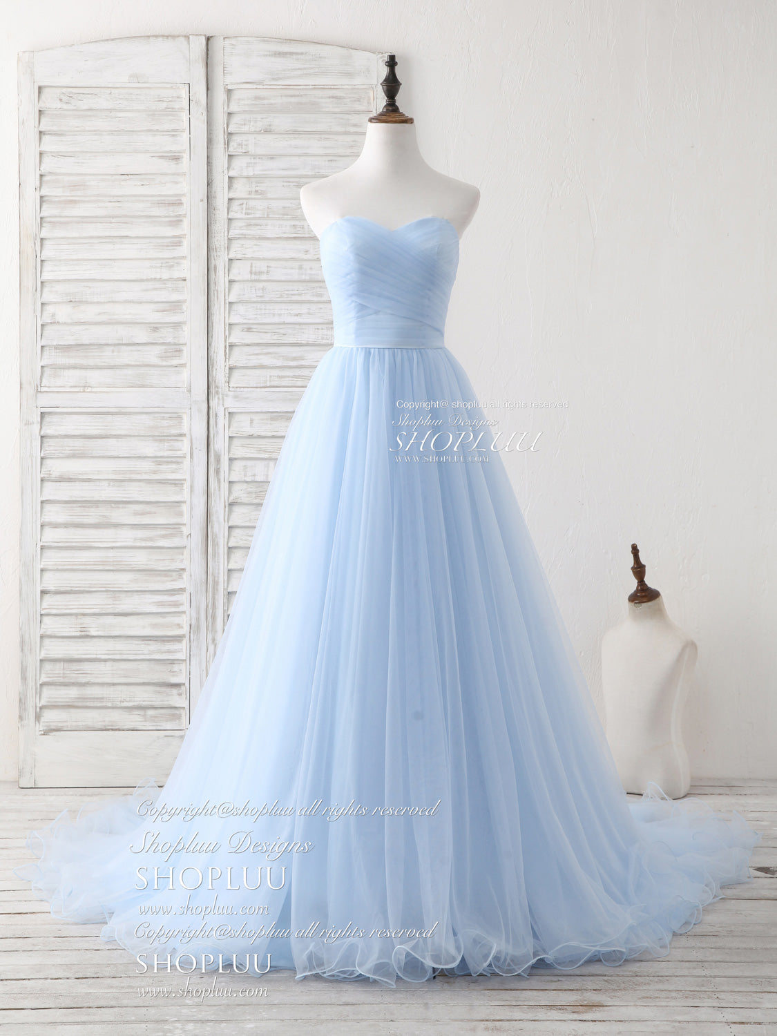 Simple sweetheart blue tulle long prom dress blue evening dress ...