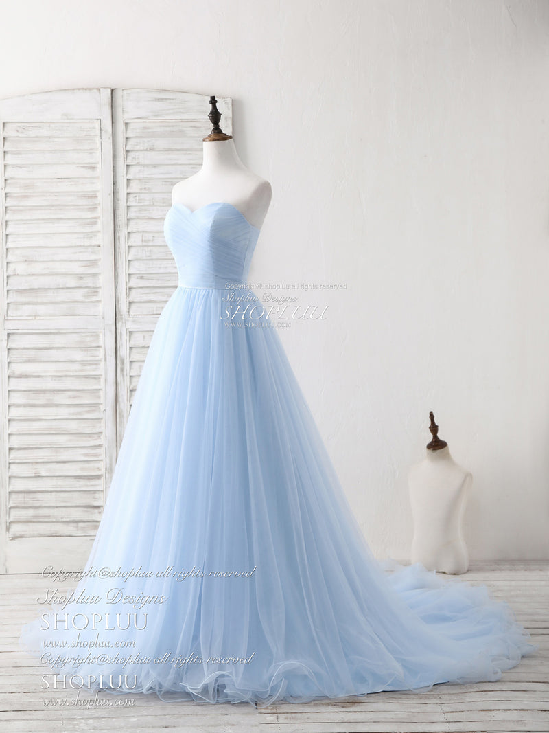 Simple sweetheart blue tulle long prom dress blue evening dress